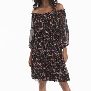 WHBM Off Shoulder Floral Print Ruffle Tassel Dress